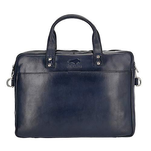 Solo Pelle Businesstasche aus echtem Leder passen für Apple MacBook bis 13,3 Zoll (Dunkelblau)