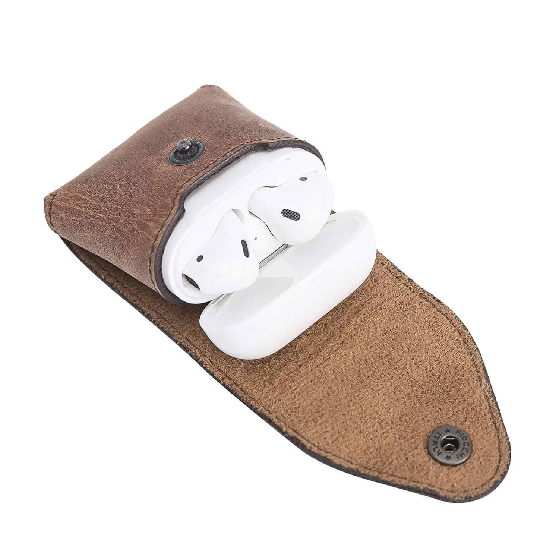 Solo Pelle Lederhülle Noah Hülle passend zu original Apple Airpods 1 und 2 (Wireless Charging geeignet) (Vintage Braun)