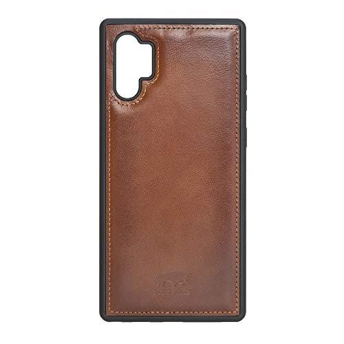 Solo Pelle Lederhülle für das Samsung Galaxy Note 10 Plus/Note 10+ 5G Hülle, Schutzhülle aus echtem Leder, Model: Stanford (Cognac Braun Burned)