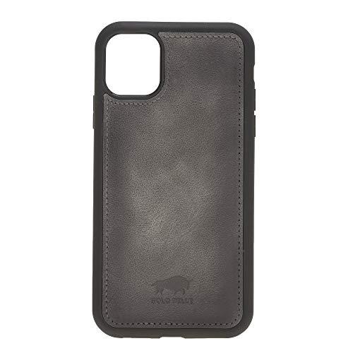 Solo Pelle Lederhülle für das iPhone 11 (XI) 6.1 Zoll Stanford Case Leder Hülle Ledertasche Backcover aus echtem Leder (Steingrau Burned)