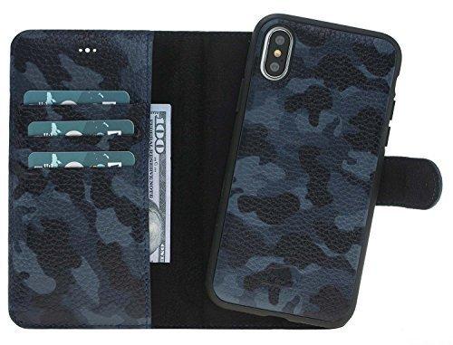 "iPhone X / XS Hülle - Abnehmbar ""Harvard"" - Camouflage Blau aus Leder"