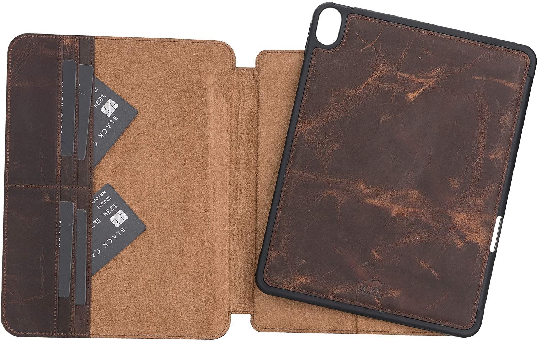 Solo Pelle magnetische abnehmbare Hülle geeignet für Apple iPad Air 5 in 10.9 (4 + 5 Generation) Hülle Echtleder Case aus echtem Leder. Unterstützt Pencil und magnetisches Laden (Vintage Braun)