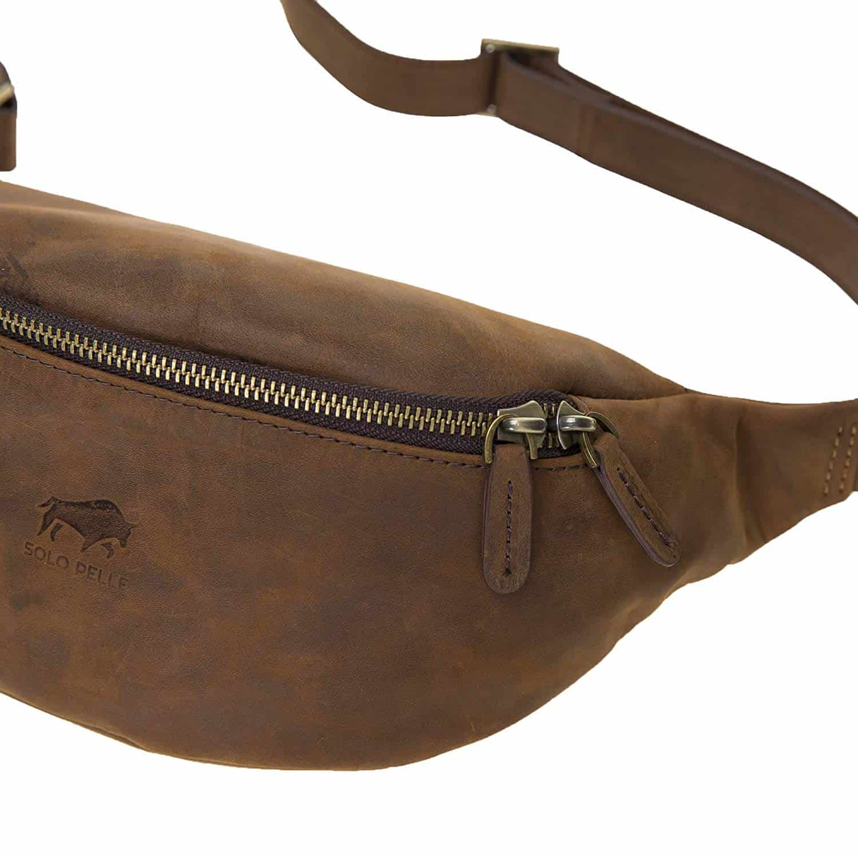 Solo Pelle Bauchtasche/Brusttasche aus echtem Leder Belt Beltbag (Vintage Braun)