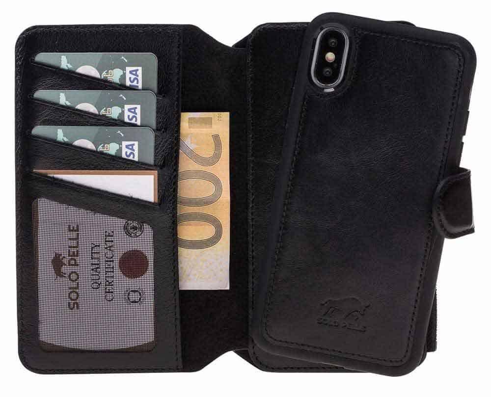 Solo Pelle Iphone X abnehmbare Lederhülle & Geldbörse inkl. 12 Kartenfächer + Geldscheinfach für das original Iphone X in Schwarz