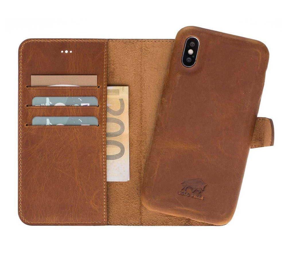 Solo Pelle Iphone X abnehmbare Lederhülle (Ultra 2in1) inkl. Kartenfächer für das original Iphone X in Camel Braun