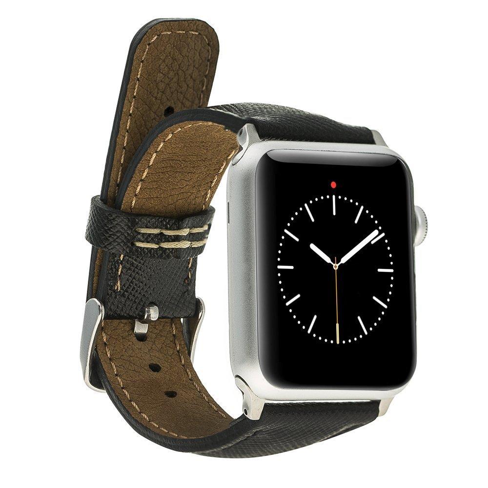 Apple Watch Lederarmband 42mm / 44 mm  in Saffiano Schwarz