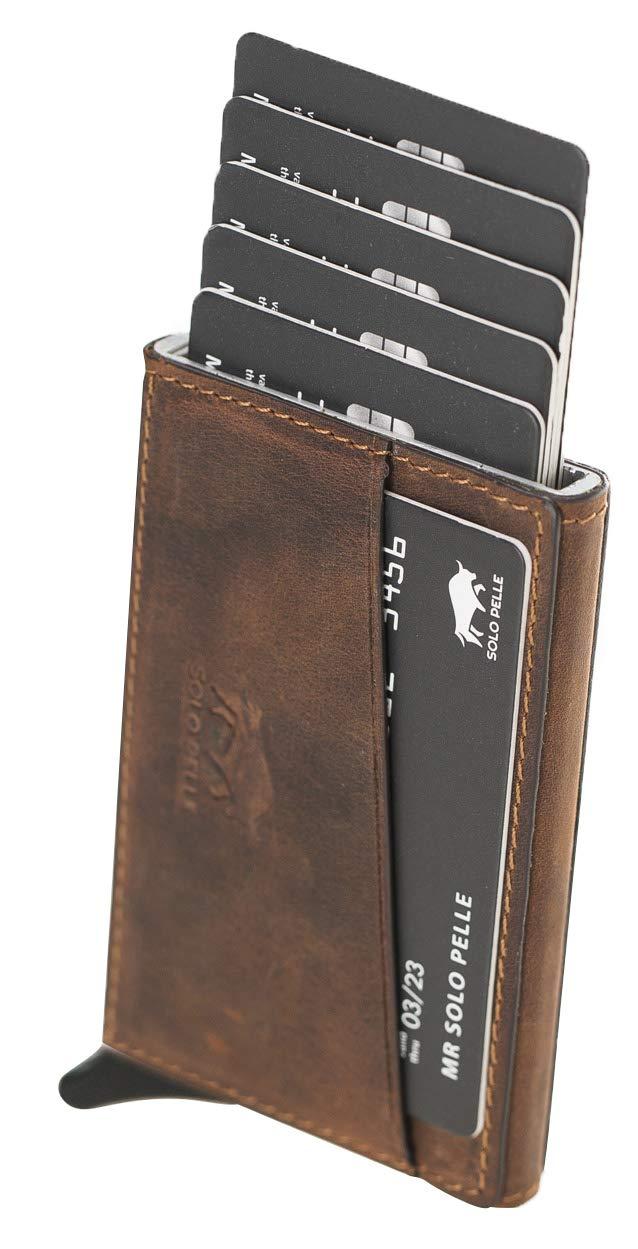 """Kreditkartenetui """"Mech"""" mit RFID Schutz & Kleingeldfach in Vintage Braun"""