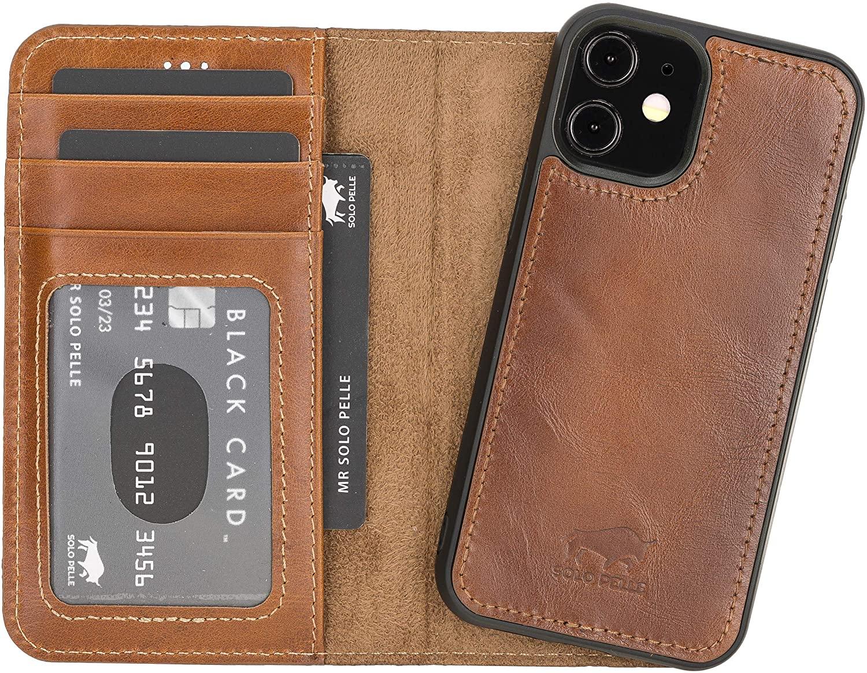 "iPhone 12 Mini abnehmbare Lederhülle ""Harvard"" MagSafe kompatibel (Cognac Braun Effekt)"