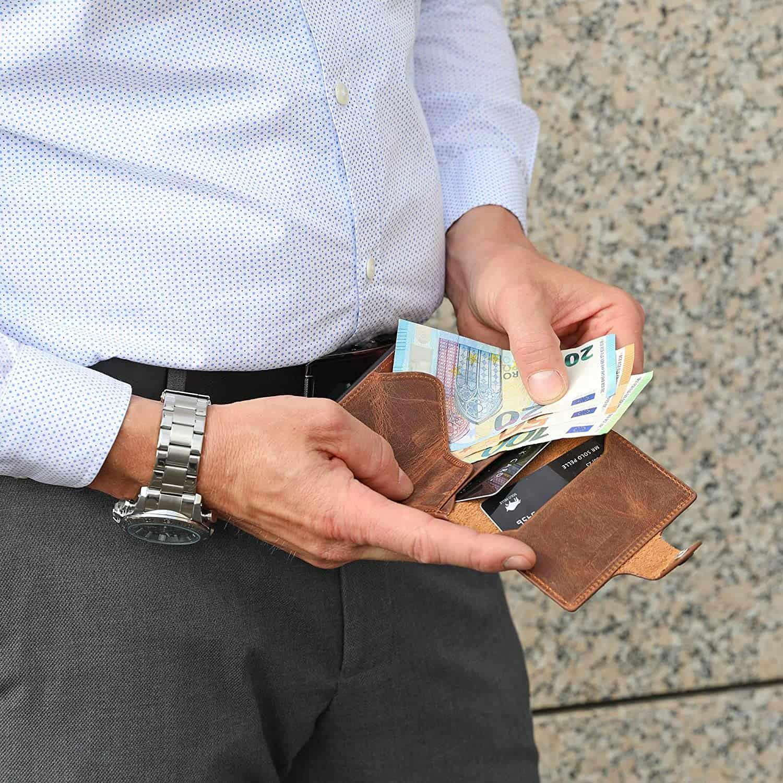 """Slim Wallet """"Mondo"""" ohne Münzfach [bis zu 13 Karten] + [RFID-Schutz] in Vintage Braun"""