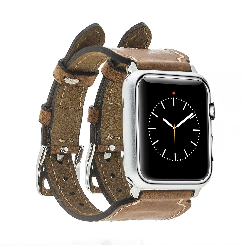 "Apple Watch Lederarmband ""Double Buckle"" in 42 mm Camel Braun"