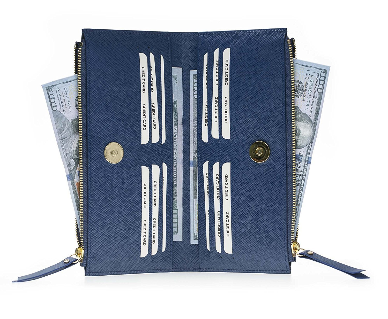 Leder Geldbörse Saff Palermo XL in Blau