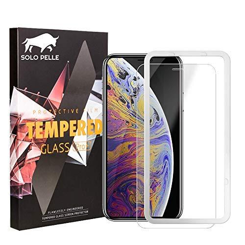 Solo Pelle Panzerglas Schutzfolie für iPhone XS/X, Displayschutzfolie mit Positionierhilfe, 9H Härte, Anti-Kratzen, Anti-Öl, Anti-Bläschen, [5.8 Zoll]