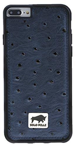 """iPhone 7 Plus / 8 Plus - """"STANFORD"""" - Strauss-Prägung in Blau us Leder"""