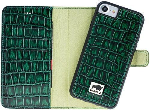"iPhone 8/7 Hülle - Abnehmbar ""Harvard"" - Kroko-Grün aus Leder"