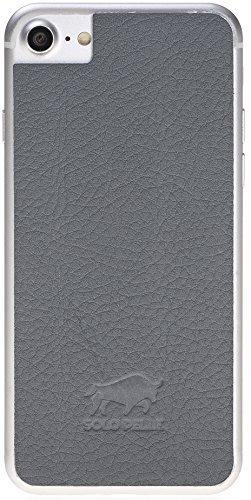 iPhone 8 und 7 abnehmbarer Lederrücken zum Schutz aus echtem Leder in Matt Grau