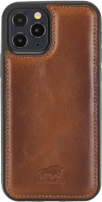 Solo Pelle Lederhülle für das iPhone 12 / 12 Max in 6.1 Zoll Stanford Case Leder Hülle Ledertasche Backcover aus echtem Leder (Cognac Braun Effekt)