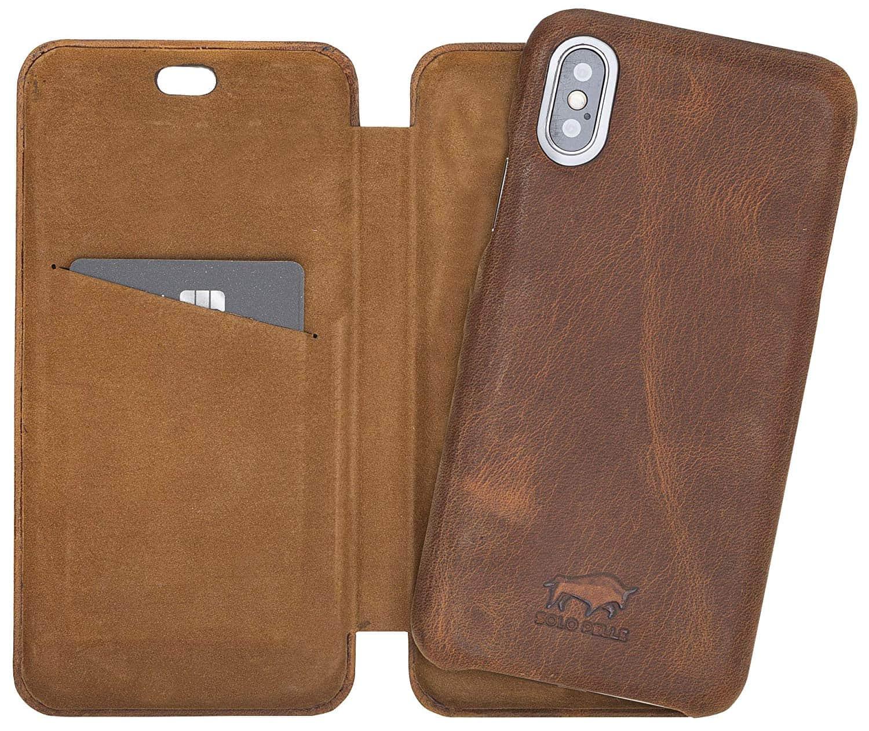 Solo Pelle Lederhülle passend zu iPhone X/XS abnehmbare Hülle (2in1) inkl. Kartenfächer für das original iPhone X/XS (F360 Elite Vintage Braun)