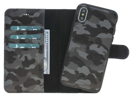 iPhone X / XS Hülle - Abnehmbar (2in1) - Camouflage Grau aus Leder