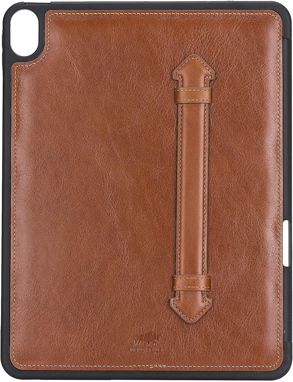 Solo Pelle Hülle geeignet für Apple iPad Air 5 in 10.9 (4 + 5 Generation) Echtleder Case aus echtem Leder. Unterstützt Pencil inkl. Ledergriff (Cognac Braun Burned)