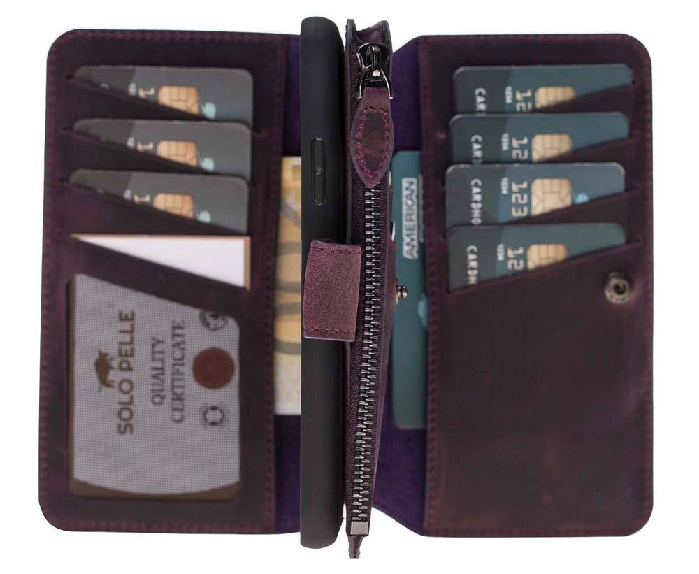 Solo Pelle Iphone X abnehmbare Lederhülle & Geldbörse inkl. 12 Kartenfächer + Geldscheinfach für das original Iphone X in Vintage Lila