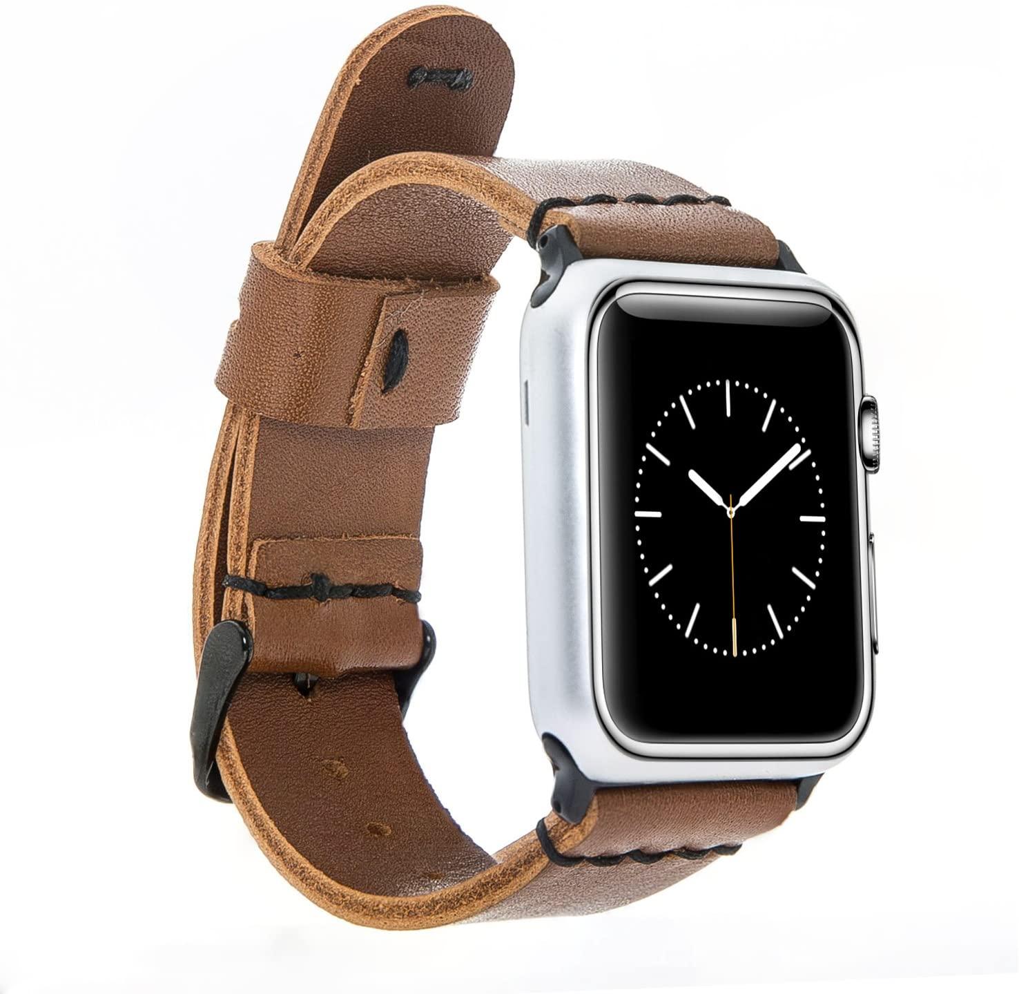 Solo Pelle Lederarmband Monaco für das Apple Watch Series 1-4 I Armband für das original Apple Watch 1, 2, 3 und 4 (38/40mm, Cognac Braun + Schwarze Naht + Spacegrau Adapter)