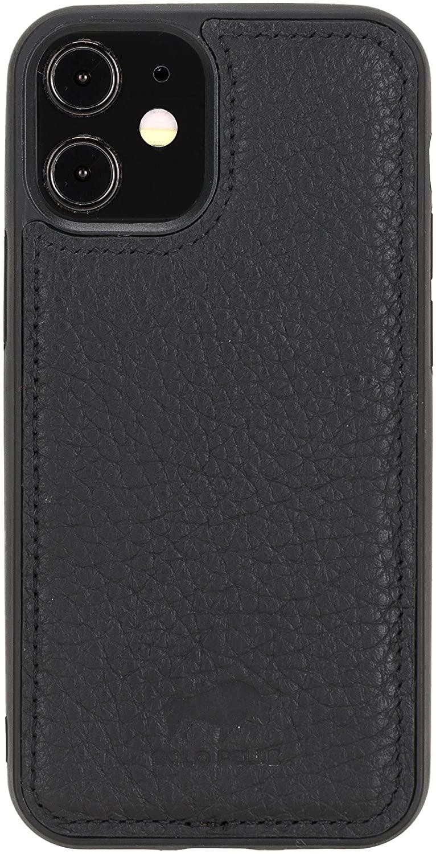 "iPhone 12 Mini Lederhülle ""Stanford"" MagSafe kompatibel (Matt Schwarz)"