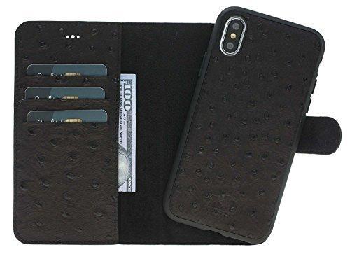 iPhone X / XS Hülle - Abnehmbar (2in1) - Straussprägung Schwarz aus Leder