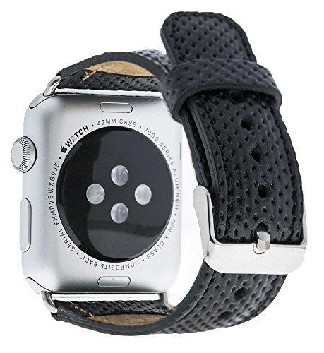 Apple Watch Lederarmband in 42mm / 44 mm Schwarz gelochtes Leder / Silber farbiger Connector