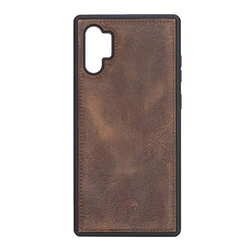 Solo Pelle Lederhülle für das Samsung Galaxy Note 10 Plus/Note 10+ 5G Hülle, Schutzhülle aus echtem Leder, Model: Stanford (Vintage Braun)