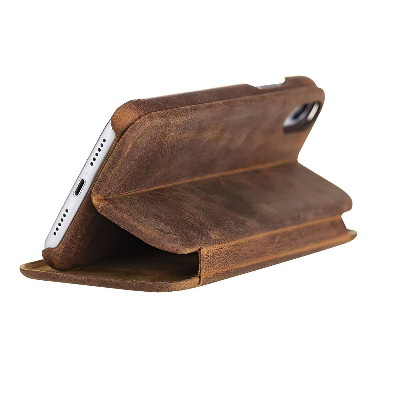 Solo Pelle Lederhülle passend zu iPhone XR 6.1 Zoll abnehmbare Hülle inkl. Kartenfächer für das original Apple iPhone XR (F360 Elite Vintage Braun)