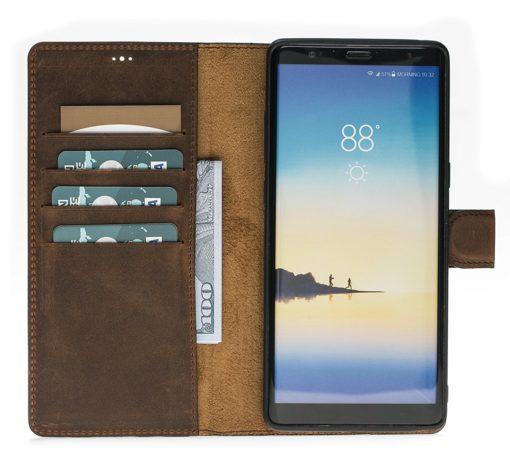 "Samsung Note 8 abnehmbare Lederhülle ""Harvard"" Leder Hülle Tasche Lederhülle Ledertasche Backcover in Vintage Braun"