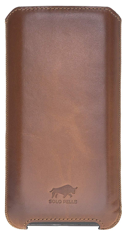 iPhone 11 & XR Hülle I Lederhülle I Ledertasche I Sleeve aus echtem Leder in Cognac Braun Effekt