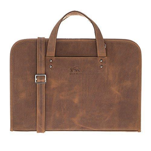 """Businesstasche """"Pergamon"""" in genarbtem Leder in Vintage Braun"""