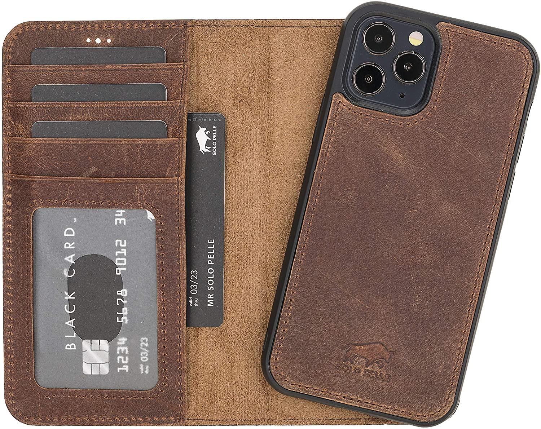 "iPhone 12 | 12 Pro abnehmbare Lederhülle ""Harvard"" MagSafe kompatibel (Vintage Braun)"