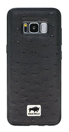 """Samsung Galaxy S8 Plus """"STANFORD"""" Hülle in Strauss Prägung Schwarz"""