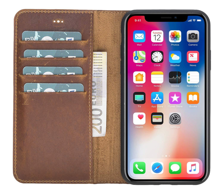 """iPhone XR 6.1 Zoll Abnehmbare Lederhülle """"Harvard"""" in Camelbraun"""