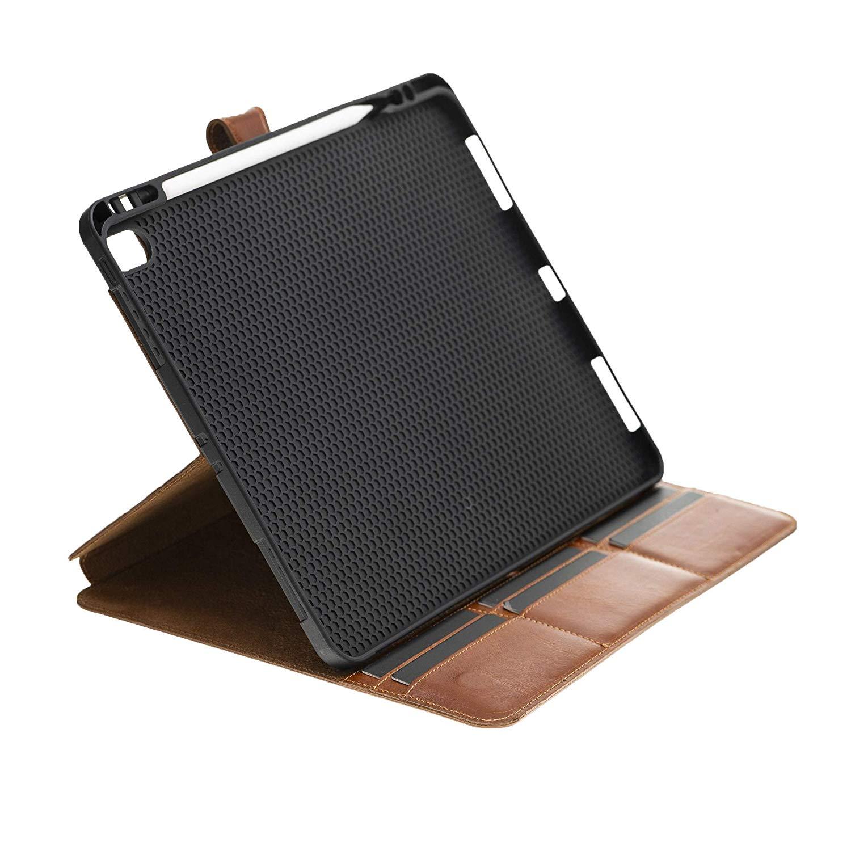 Solo Pelle magnetische abnehmbare Lederhülle Harvard geeignet für Apple iPad Mini 5 (2019) & 4 Hülle Echtleder Case aus echtem Leder mit Stand und Auto Schlaf/Aufwachen Funktion. Dünnes Cover Schutzhülle (Cognac Braun Burned)