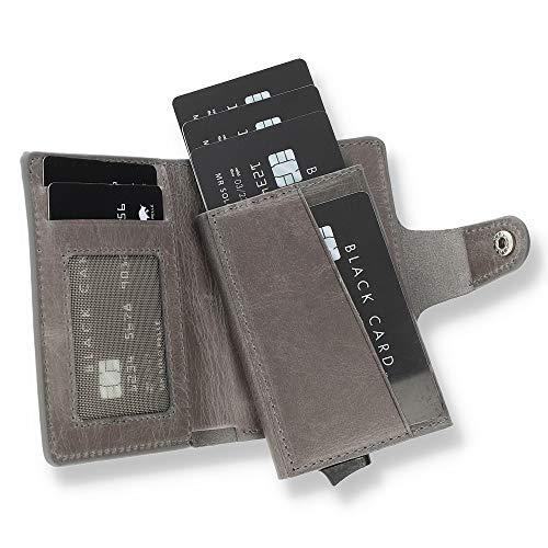 Solo Pelle Leder Geldbörse Q-Wallet mit integriertem Kartenetui für 15 Karten + Geldscheine geeignet | Kreditkartenetui mit RFID (Steingrau + abnehmbares Kartenetui)
