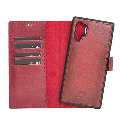 Solo Pelle Lederhülle Harvard kompatibel für das Samsung Galaxy Note 10 Plus/Note 10+ 5G inklusive abnehmbare Hülle mit integrierten Kartenfächern (Rot Burned)