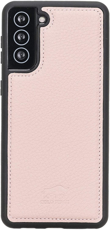 Solo Pelle Lederhülle für das Samsung Galaxy S21 + Plus 5G in 6.8 Zoll Hülle aus echtem Leder, Model: Stanford (Nude Rosa)