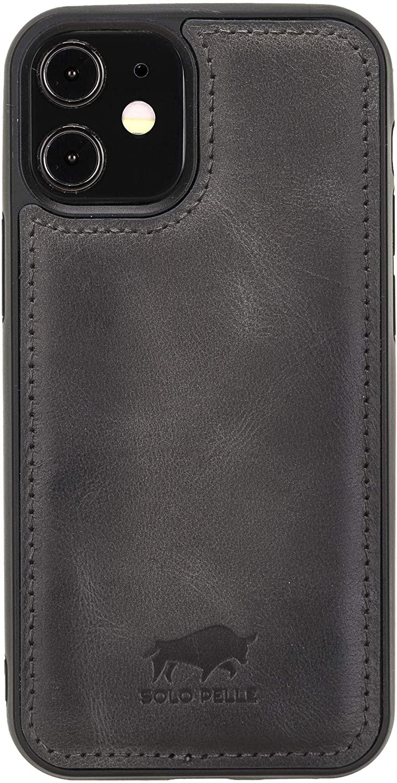 """iPhone 12 Mini Lederhülle """"Stanford"""" MagSafe kompatibel (Steingrau)"""