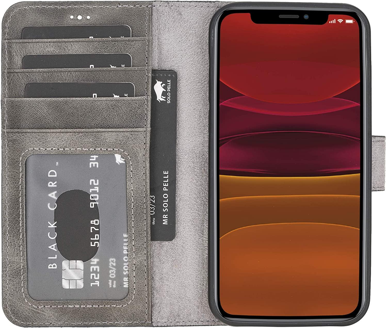 "iPhone 12 | 12 Pro abnehmbare Lederhülle ""Harvard"" MagSafe kompatibel (Steingrau)"