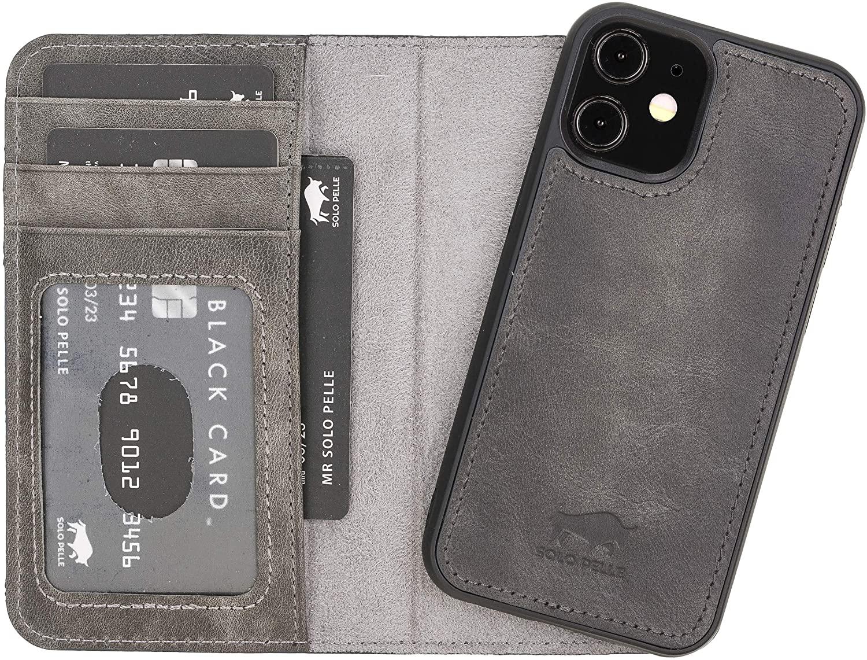 """iPhone 12 Mini abnehmbare Lederhülle """"Harvard"""" MagSafe kompatibel (Steingrau)"""