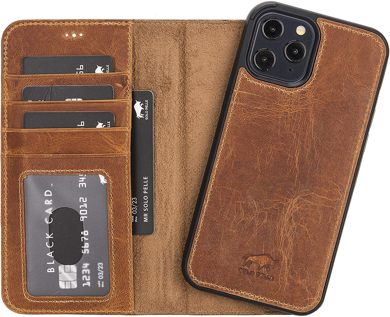 "iPhone 12 & 12 Pro abnehmbare Lederhülle ""Harvard"" MagSafe kompatibel (Camel Braun)"