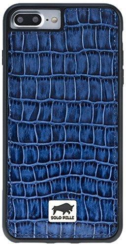 """iPhone 7 Plus / 8 Plus """"STANFORD"""" in Kroko-Prägung in Blau"""