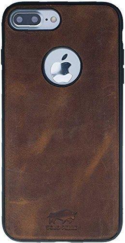 "iPhone 7 Plus / 8 Plus - ""STANFORD"" Leder Hülle Tasche Lederhülle Ledertasche Backcover - Vintage Braun aus Leder"