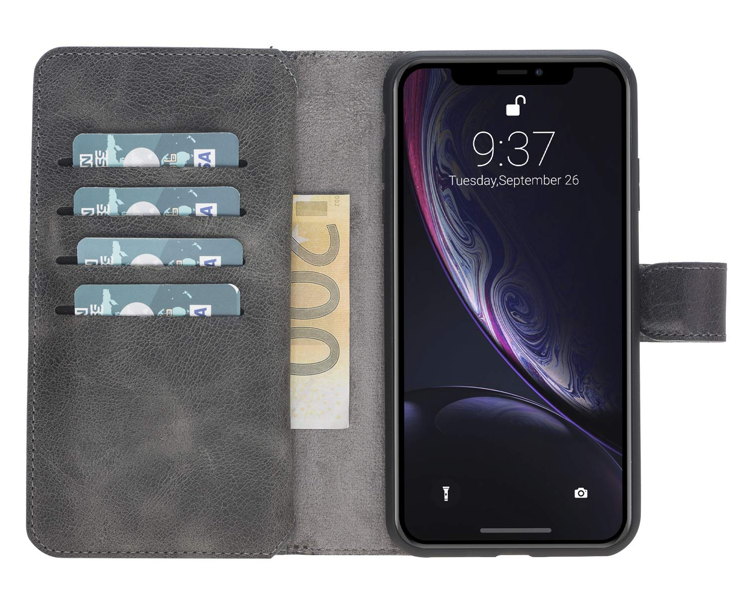 iPhone XS Max abnehmbare Lederhülle (Double 2in1) in Steingrau