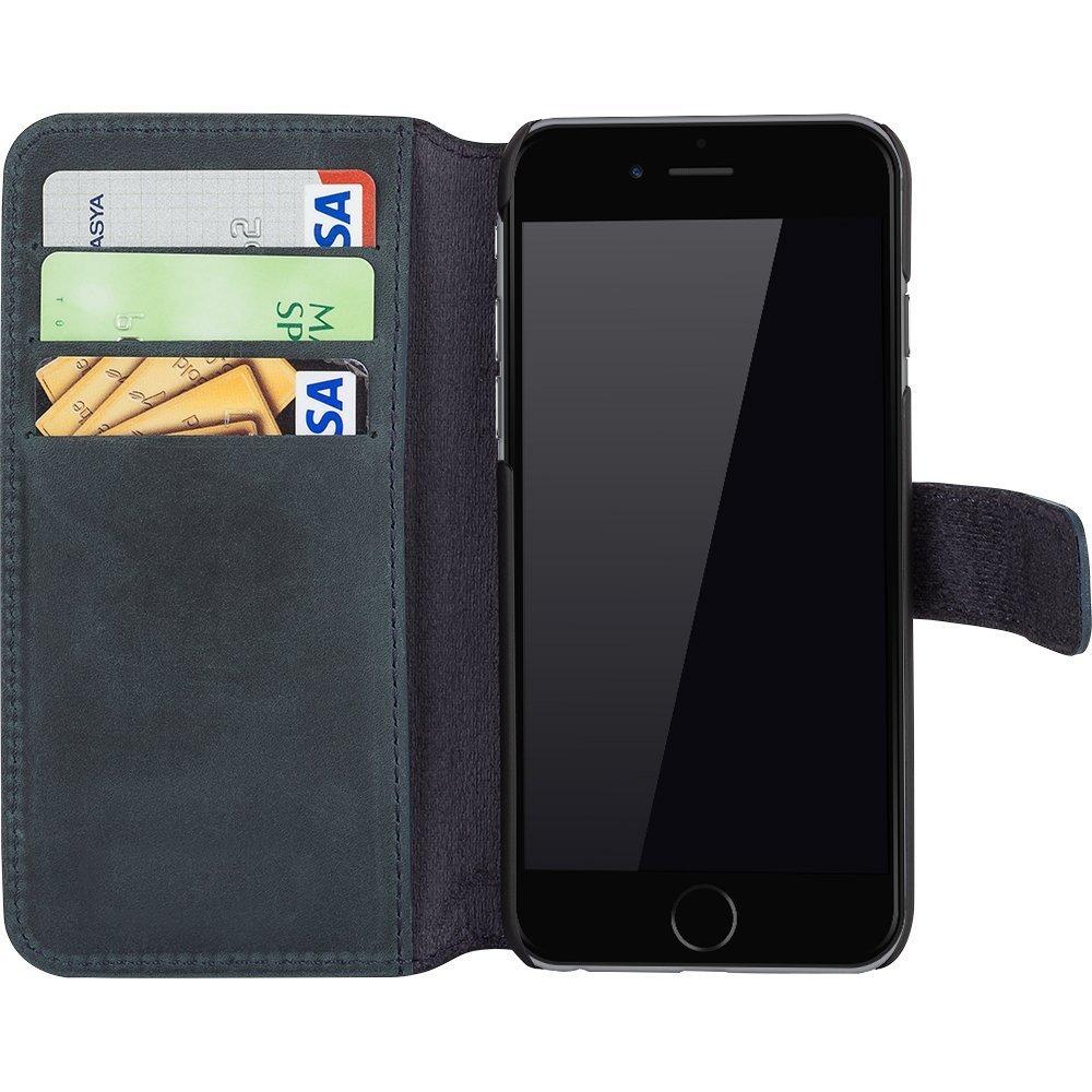 iphone 6 6s h lle wallet vintage grau blau aus leder. Black Bedroom Furniture Sets. Home Design Ideas