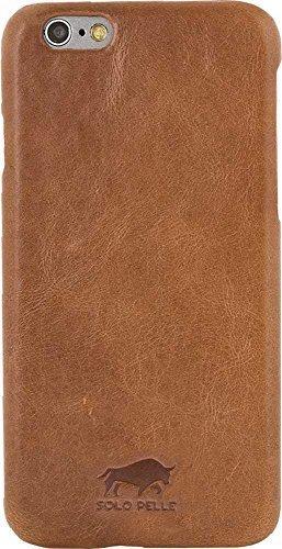 "Solo Pelle Iphone 6 Plus / 6S Plus Ledertasche Backcover "" Ultra Slim "" Cognac Braun"