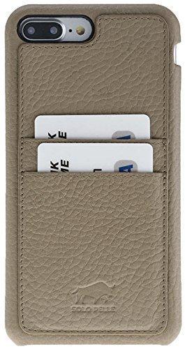 """iPhone 8 Plus / 7 Plus Hülle - """"Fullcover-Pomona"""" - Taupe aus Leder"""